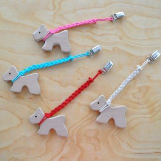 Teething toys for infants made from alder wood with original design from Barin Toys. Sweet Puppy Baby Teether with pacifier clip holder made from natural cotton cord in macrame style. CE mark and FDA compliant