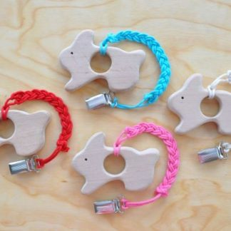Buy bunny teether with pacifier clip on BarinToys.com. Special easter teether promotion.