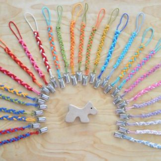 Select braided pacifier clip color for baby wooden teether Scottish Dog on BarinToys.com.