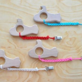 Buy Submarine Baby Teething Toy with pacifier clip on BarinToys.com. Choose the color of the strap braid.