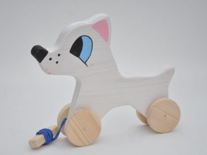 Buy White Pull Dog Toy by Barin Toys Best Friends Cute Dog wooden pull toys at BarinToys.com online store direct!