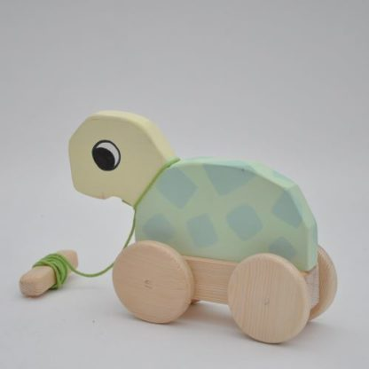 Buy online at BarinToys.com store wooden turtle pull toy in pastel color.