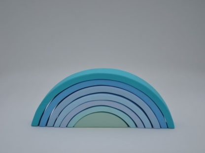 Buy pastel blue color wooden rainbow stacking toy for toddler visual and motor skill development at BarinToys.com online store