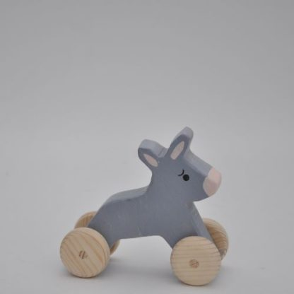 Buy wooden donkey toy for babies and todlers as a pul toy or a farmyard game at BarinToys.com online store.