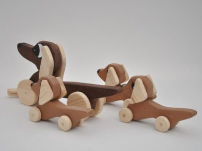 Buy Dachshund Sausage Dog Family Pull Toy by Barin Toys Best Friends Cute Dog wooden pull toys at BarinToys.com online store direct!
