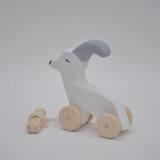 White goat pull toy for babies farmyard to play, buy online at BarinToys.com store!