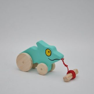 Near Buy Barin Toys Green Lizard Chameleon wooden toy pull toy at BarinToys.com online store with delivery.