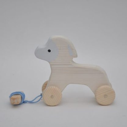 Buy direct at BarinToys.com online store the wooden baby pull along toy the White Lamb.