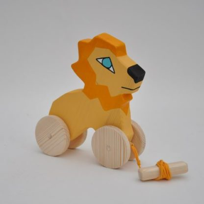 Near Buy Barin Toys cute lion toy BIG wooden pull toy at BarinToys.com online store with delivery.