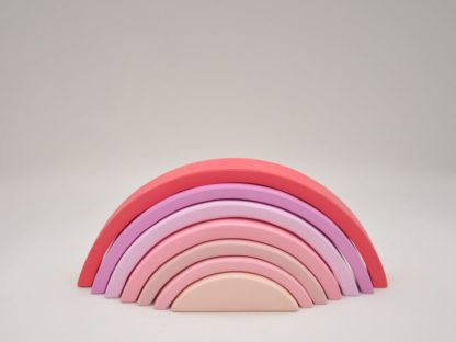 Buy pastel shades of pink rainbow stacking toy for toddler girl visual and motor skill development at BarinToys.com online store