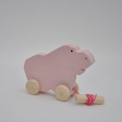 Near Buy Barin Toys Pink Hippo wooden toy pull toy at BarinToys.com online store with delivery.
