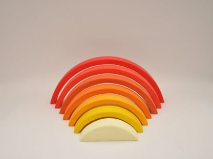 Buy wooden rainbow stacking toy for toddler visual and motor skill development at BarinToys.com online store