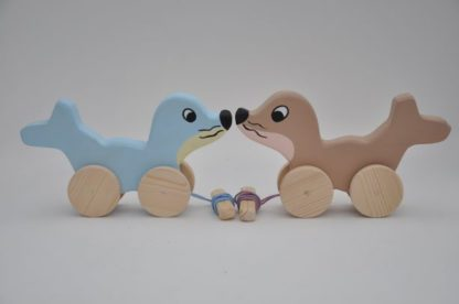 Buy the pull along wooden toys the Seal Babies at BarinToys.com online store.