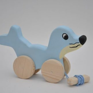 Buy the pull along wooden toys the Seal Baby Boy at BarinToys.com online store.