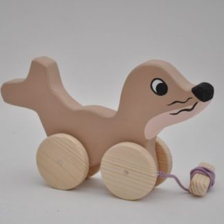 Buy the pull along wooden toys the Seal Baby Girl at BarinToys.com online store.