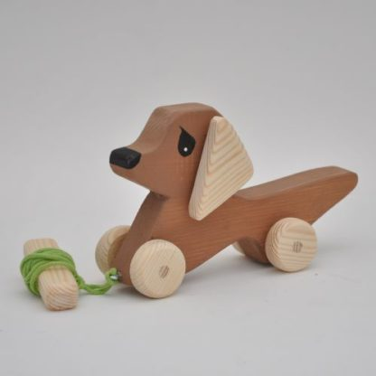 Buy Toy Pull Dog Mini Dachshund Baby by Barin Toys Best Friends Cute Dog wooden pull toys at BarinToys.com online store direct!