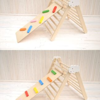 Pikler triangle Barin Toys Cloud wooden climbing frame and Toddler Climber Ladder set Board are ready to be shipped for your toddler activity and play from BarinToys.com toys store. In a week your kid will play it - doesn't matter where You are!