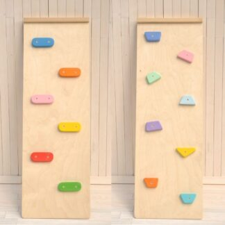 toddler activity climbing ramp attachment Pikler triangle wooden climbing frame add-on Toddler Advanced Climber Rocks set Board by Barin Toys (rainbow colors pebbles and pastel colors wooden rocks for experienced toddler climber activity)
