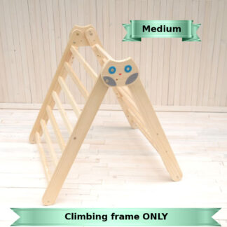 Baby Climbing frame Owl in the Forest wooden toy by Barin Toys. Medium size climbing frame Pikler triangle toddler climbler early development toy buy with delivery at BarinToys.com toy store
