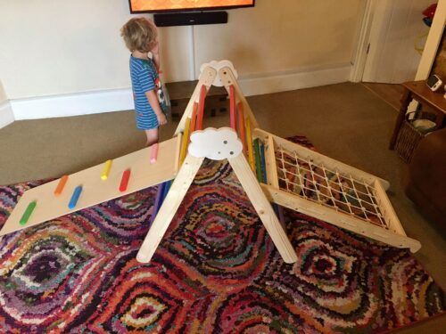 Climbing triangle rope Barin Toys board Spider Web – baby triangle pikler slide photo review