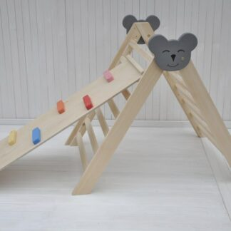Climbing triangle Barin Toys Koala large pikler triangle montessori climber baby activity wooden play frame for indoor use set option with beginner's board slide reversible