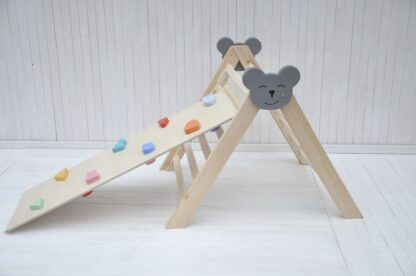 Climbing board and slide rocks and pebbles board set by Barin Toys