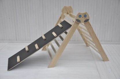 Pikler triangle climbing frame Owl in the Forest Barin Toys Pikler triangle essential montessori baby independent free play toy with beginner's board slide option.