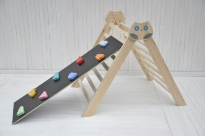 Pikler triangle climbing frame Owl in the Forest Barin Toys baby climber essential montessori baby independent free play toy with rocks and pebbles board slide option.