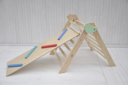Buy online at BarinToys.com wooden climbing pikler triangle frames with montessori climbing slide toys for baby or toddler physical development education activity indoor