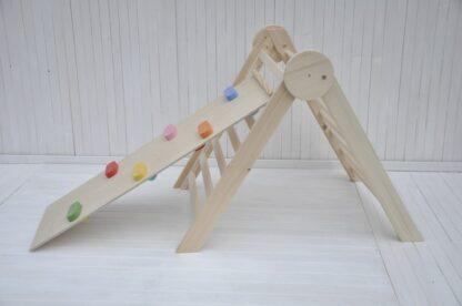 cerchio di legno naturale triangolo di pikler pieghevole per neonati Barin Toys torre di pikler giochi