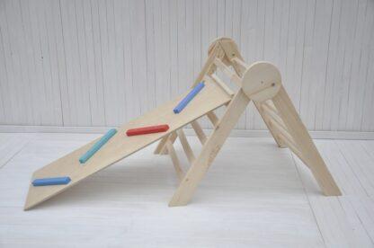 natuurlijke houten cirkel baby klimrek Barin Toys inklapbaar pikler driehoek