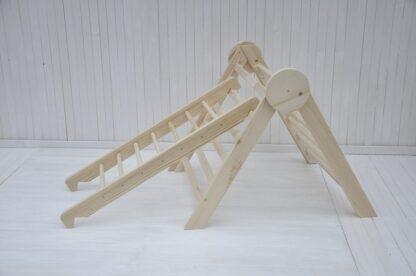 Círculo de madera natural bebé triangulo pikler Barin Toys regular plegable triangulo con tobogán de escalada rampa montessori