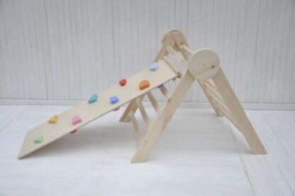 Sparsam Angebot für Sprossendreieck und Klettergerüst für Kinder und Baby ab 6 Monate - natürlicher Holzkreis Baby pikler kletterdreieck klappbar Barin Toys mit Felsen und Kieselsteine klettern Rutschbrett