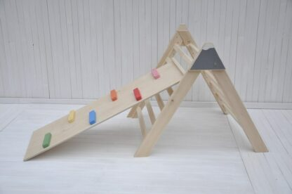 Barin Toys pikler triangle climbing frame and slide wooden climbing baby set for an option at BarinToys.com shop