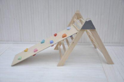 Bebé escalador de montaña Barin Toys triangulo pikler con tabla de escalada de piedras y guijarros rampa escalera montessori